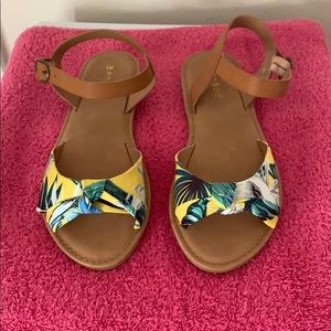 Yellow, Blue, and Green flat sandals, Brand New NW